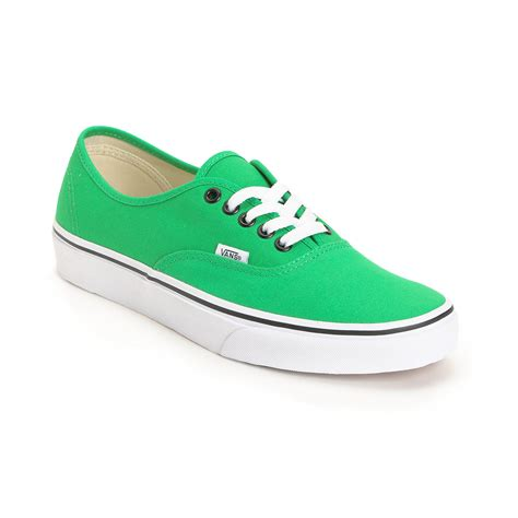green shoes vans authentic bright green shoe from zumiez