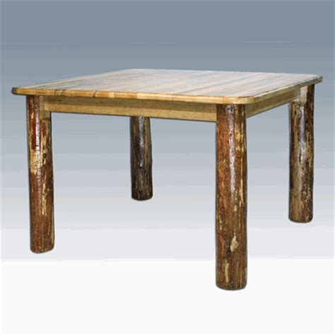 Amish Quot Glacier Quot Pine Log Dining Table Square Log Dining Tables