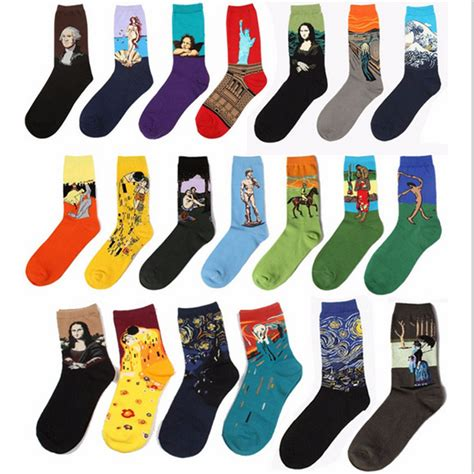 art pattern socks free shipping fashion art cotton crew socks of painting