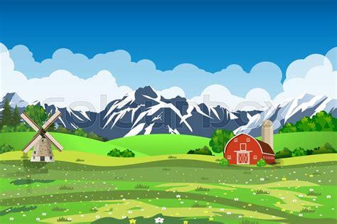 County House Plans Cartoon Farm Field Green Seeding Field Red Barn On A