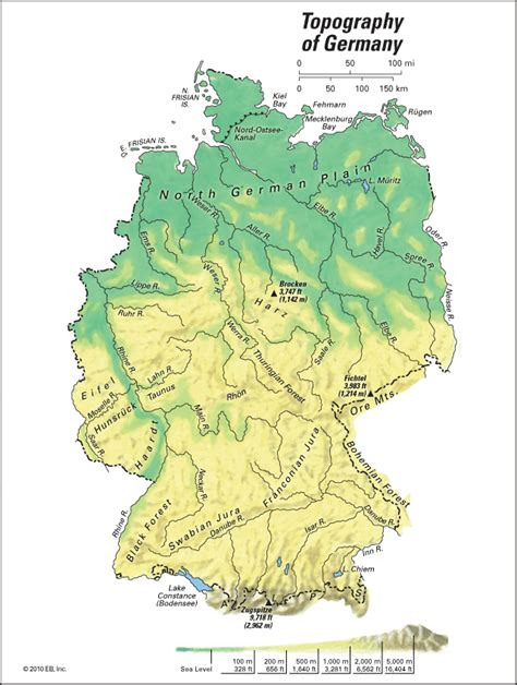 germany topographic map germany topography students britannica