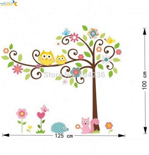 scroll tree wall stickers zooyoo oiginal design roommates scroll owl tree peel stick wall decal kindergarten 110