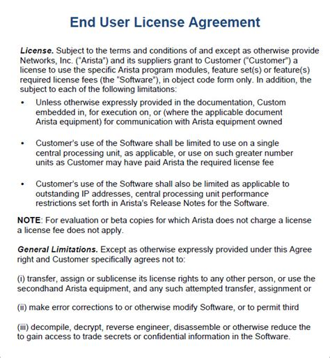 user agreement template end user license agreement 6 free pdf doc