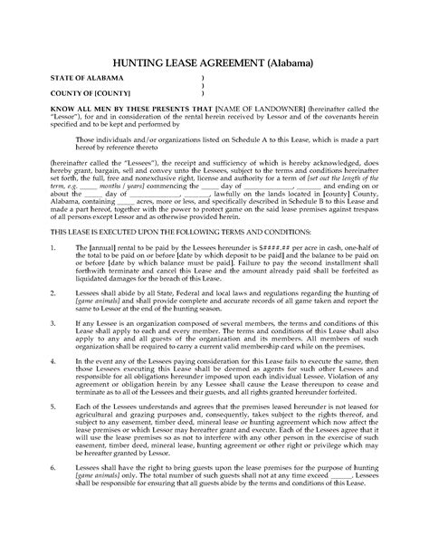 Alabama Hunting Lease Agreement Legal Forms And Business Templates Megadox Com Alabama Lease Agreement Template