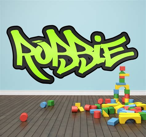 graffiti wall stickers personalised personalised graffiti name wall sticker transfer bedroom room boys ebay