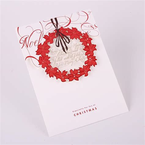 laser printable christmas cards christmas greeting cards laser cut hollow christmas wreath