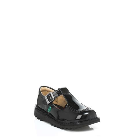 kickers infant black patent leather shoes buckle