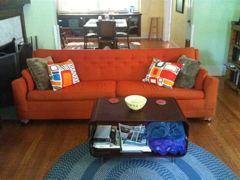 orange couch mad men prop ideas on pinterest 1960s mad men and 1960s home decor