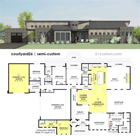 contemporary courtyard house plan 61custom modern 37 best images about modern house plans 61custom on