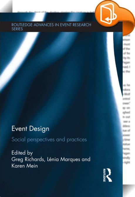 Event Design Routledge   event design greg richards karen mein l 233 nia marques