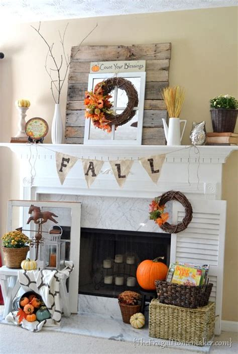 fall fireplace decorating ideas fireplace fall decor idea the frugal homemaker i want