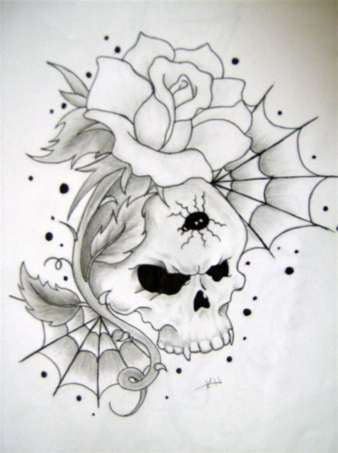 skull and rose by wickedsesshy on deviantart