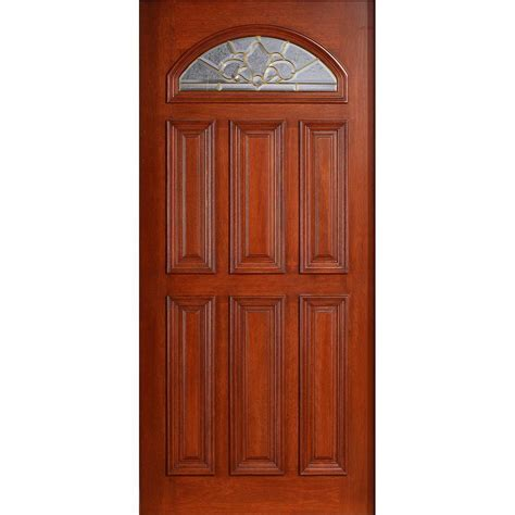 wood front door main door 36 in x 80 in mahogany type unfinished beveled