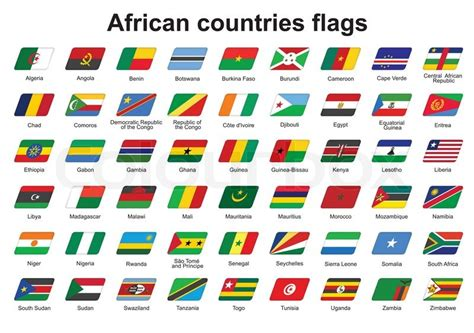 african countries flags set of african countries flags icons stock vector