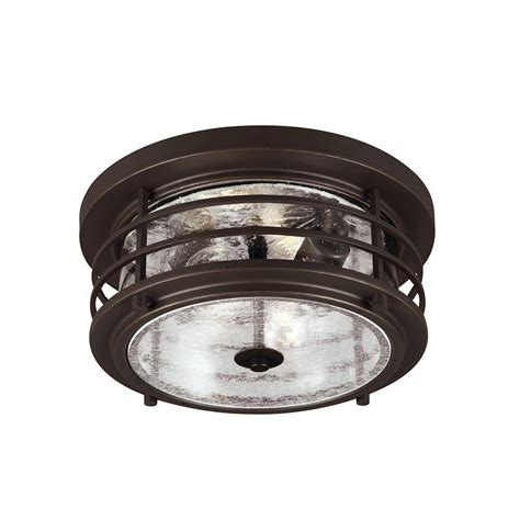 Ceiling Outdoor Lighting Sea Gull Lighting Sauganash 2 Light Outdoor Antique Bronze Ceiling Flushmount With Clear Seeded
