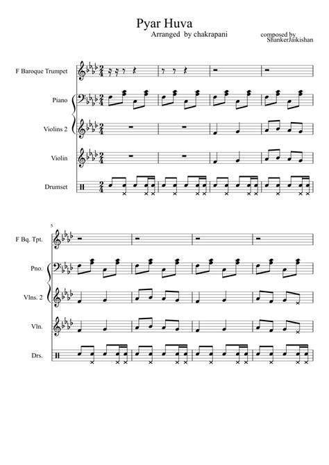 Hindi song pyar huva sheet music for Piano, Violin