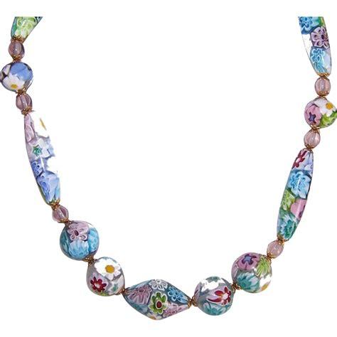 italian glass bead necklace vintage pastel italian millefiori glass bead necklace