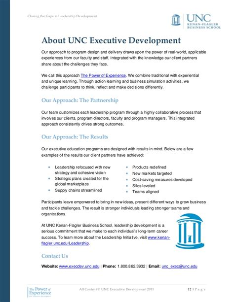 Unc Executive Mba Admissions by Closing The Gaps In Leadership Development