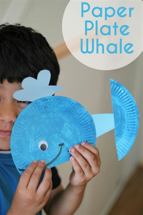 Whale Paper Plate Craft - paper plate whale in the playroom
