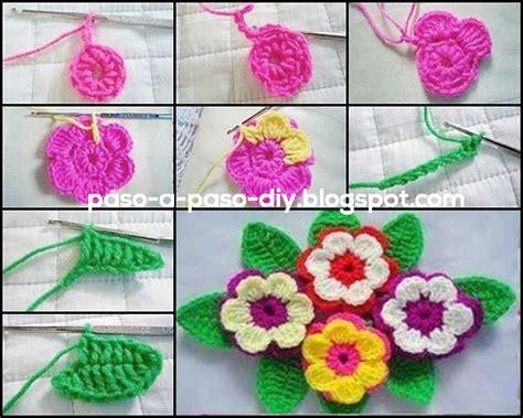como tejer flores de 5 petalos a crochet muy facil how c 243 mo tejer flor crochet con hojas diy paso a paso