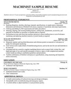 cnc machinist resume models free resume templates