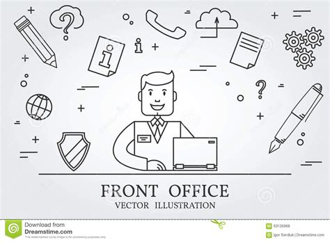 think line front office think line icon vector stock vector