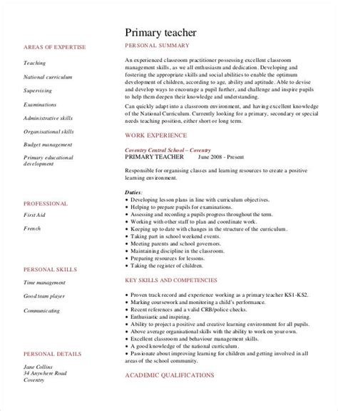 resume format for primary teachers resume primary annecarolynbird