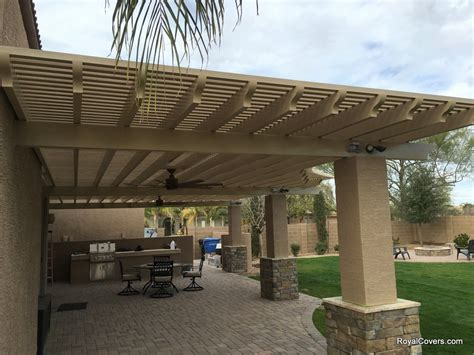 custom alumawood patio cover with outdoor fans in gilbert az 85295 royal covers of arizona