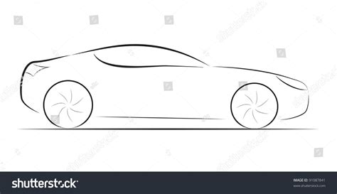 cartoon sports car black and white cartoon silhouette black car on white stock vector