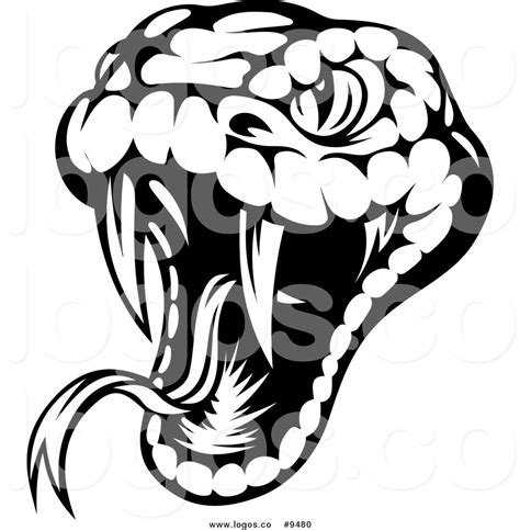 royalty free clip art vector logo of a biting black and