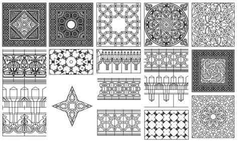 islamic pattern hatch حصريا عدد 85 زخارف اسلامية رائعة اوتوكاد dwg الهندسة