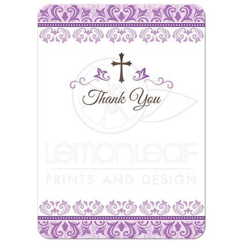 Thank You Letter Border communion thank you cards with purple ornate damask
