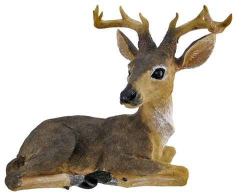 Decorative Deer by Resting 10 Point Buck Deer Wildlife Statue 16 Inches