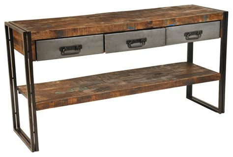 sofa table with drawers and shelf reclaimed wood and metal 3 drawers and 1 shelf sofa table