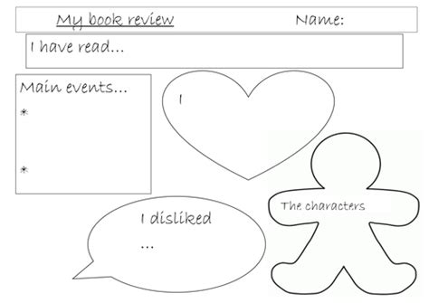 book template ks1 book review template sheet by miss tallulah teaching