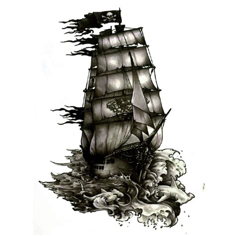 5pcs the black pearl pirate ship waterproof temporary