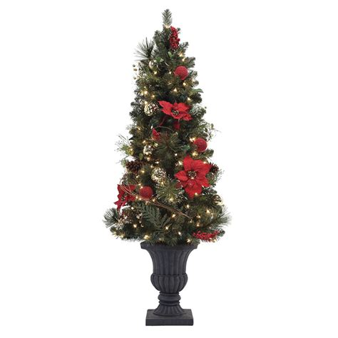 lowes christmas tree lights shop living 5 ft pre lit pine artificial tree with white incandescent lights