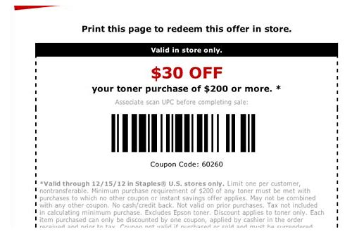coupons staples ink