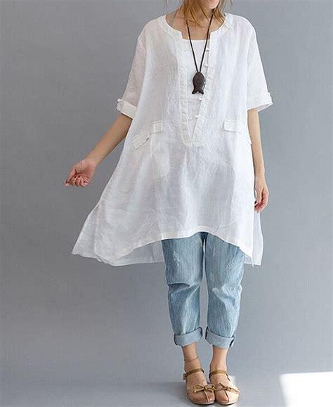 Line Longshirt linen asymmetrical shirt plus size shirt leisure linen lo