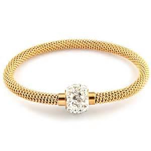 bracelet femme maille acier plaque or serti zirconium