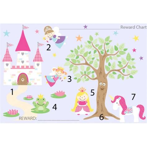 Large Childrens Wall Stickers free downloadable fairy princess reward chart