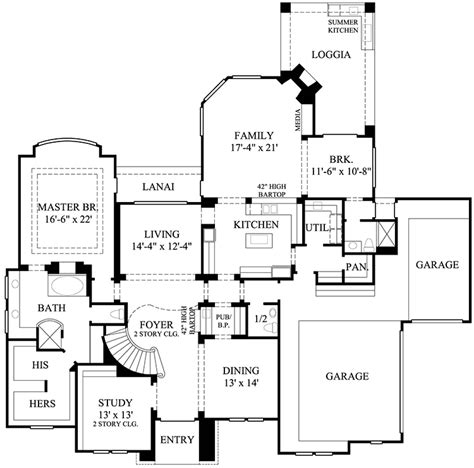 luxury home plan with central spiral stair 67073gl