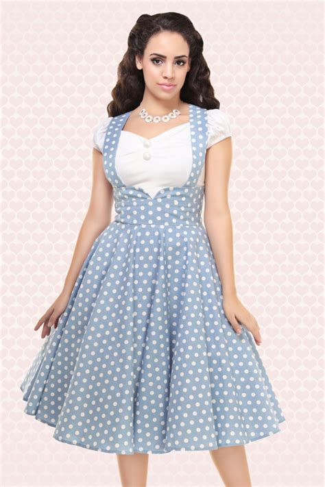 swing rock 50s vintage polkadot swing skirt in dusky blue