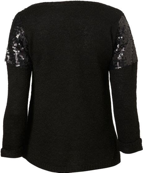 Preview Lupfer And Ashish For Topshop by Topshop Knitted Sequin Yoke Jumper In Black Lyst