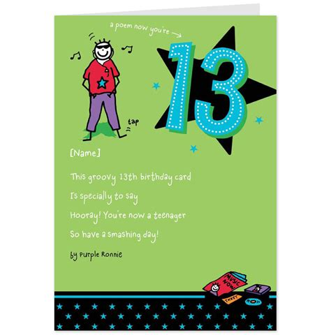 Birthday Cards For 13 Year Boy 13th Birthday Quotes For Son Quotesgram