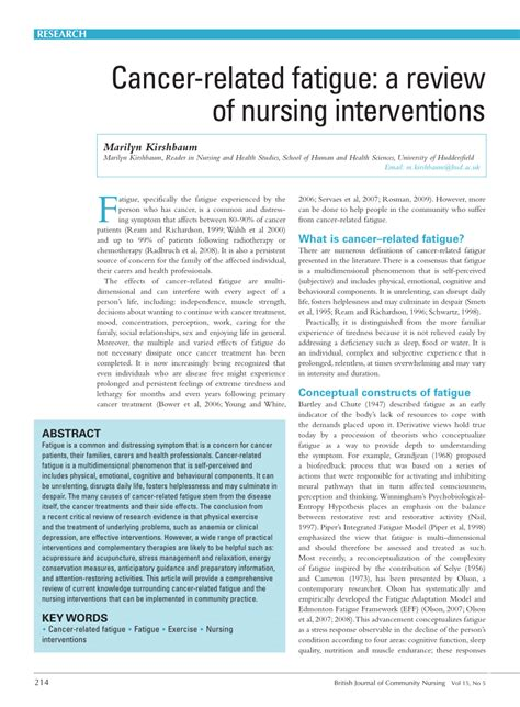 A Systematic Review Of Interventions To Improve Handwriting by Cancer Pdf Review Cancer Related Fatigue A Review Of Nursing Interventions