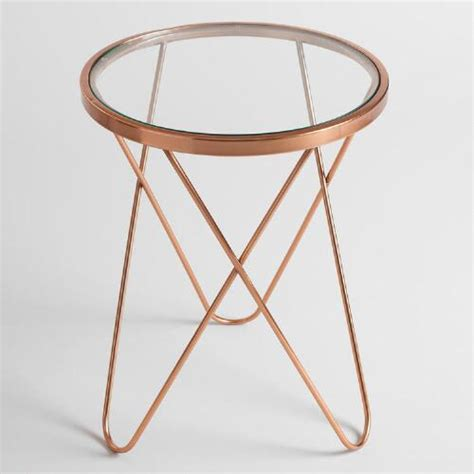glass top accent tables rose gold tomlin accent table with glass top world market