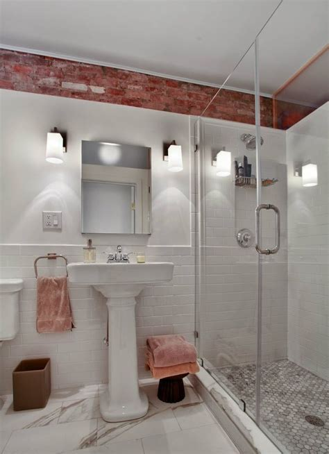different types of bathroom tiles exposed brick and subway tile bathroom inspiration