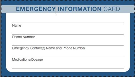 contact information card template emergencycontact printable form petal