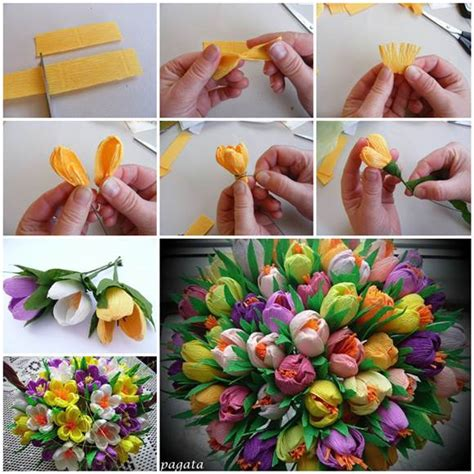 How To Make Paper Flowers Bouquet - diy beautiful bouquet of crepe paper crocuses